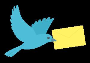 手紙を運ぶ青い鳥