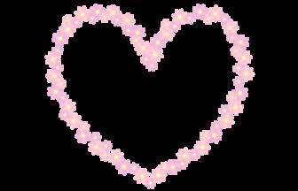 花のハート形フレーム