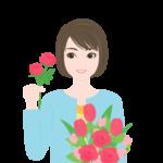 花束をつくる女性