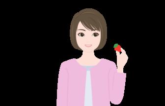 食事の人物(イチゴ)