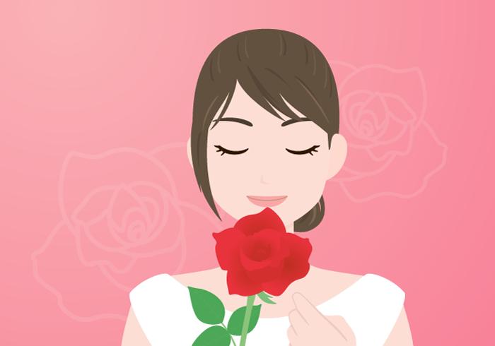 花と女性の背景(バラ)