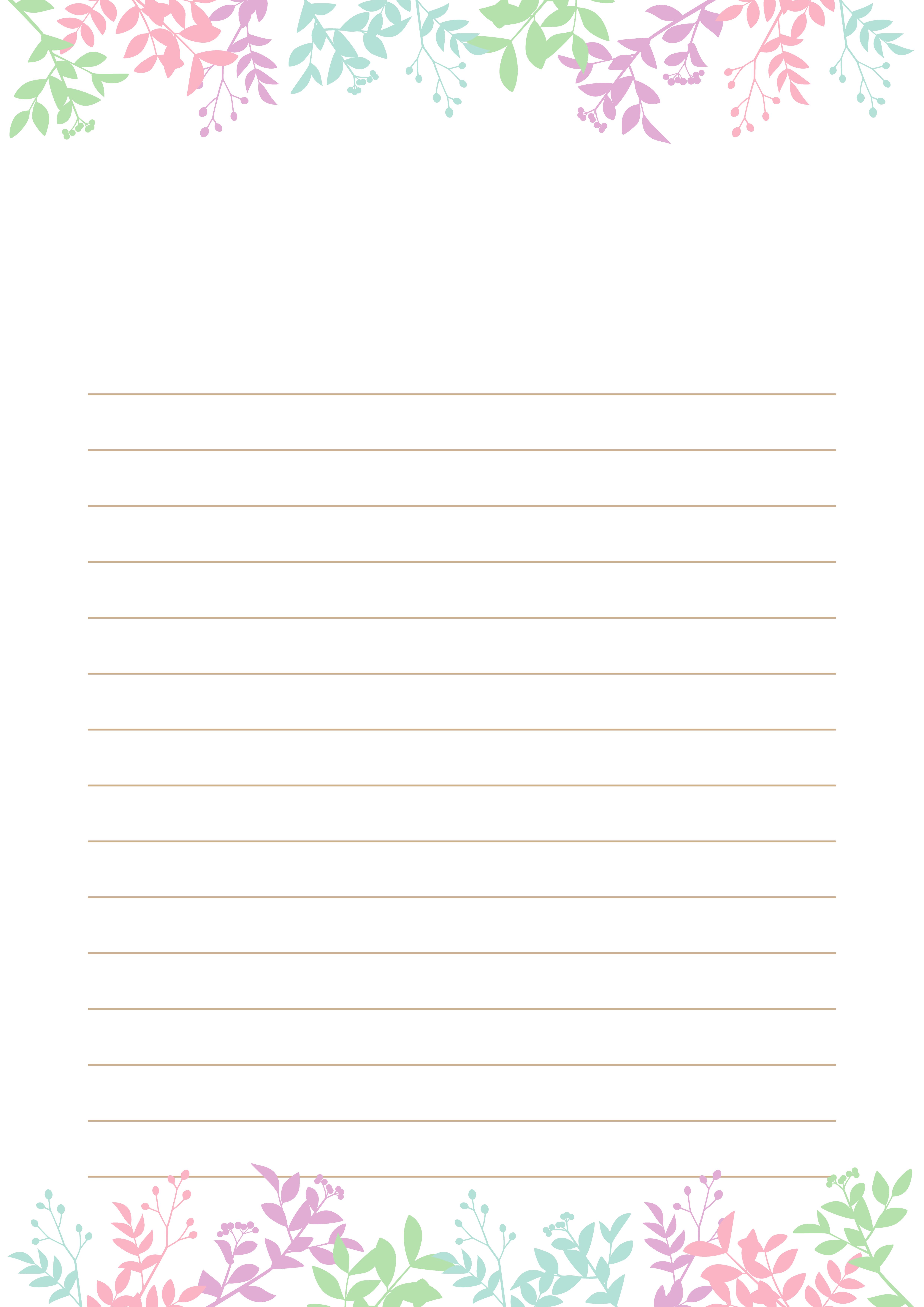 罫線入り便箋テンプレート(ボタニカルデザイン)