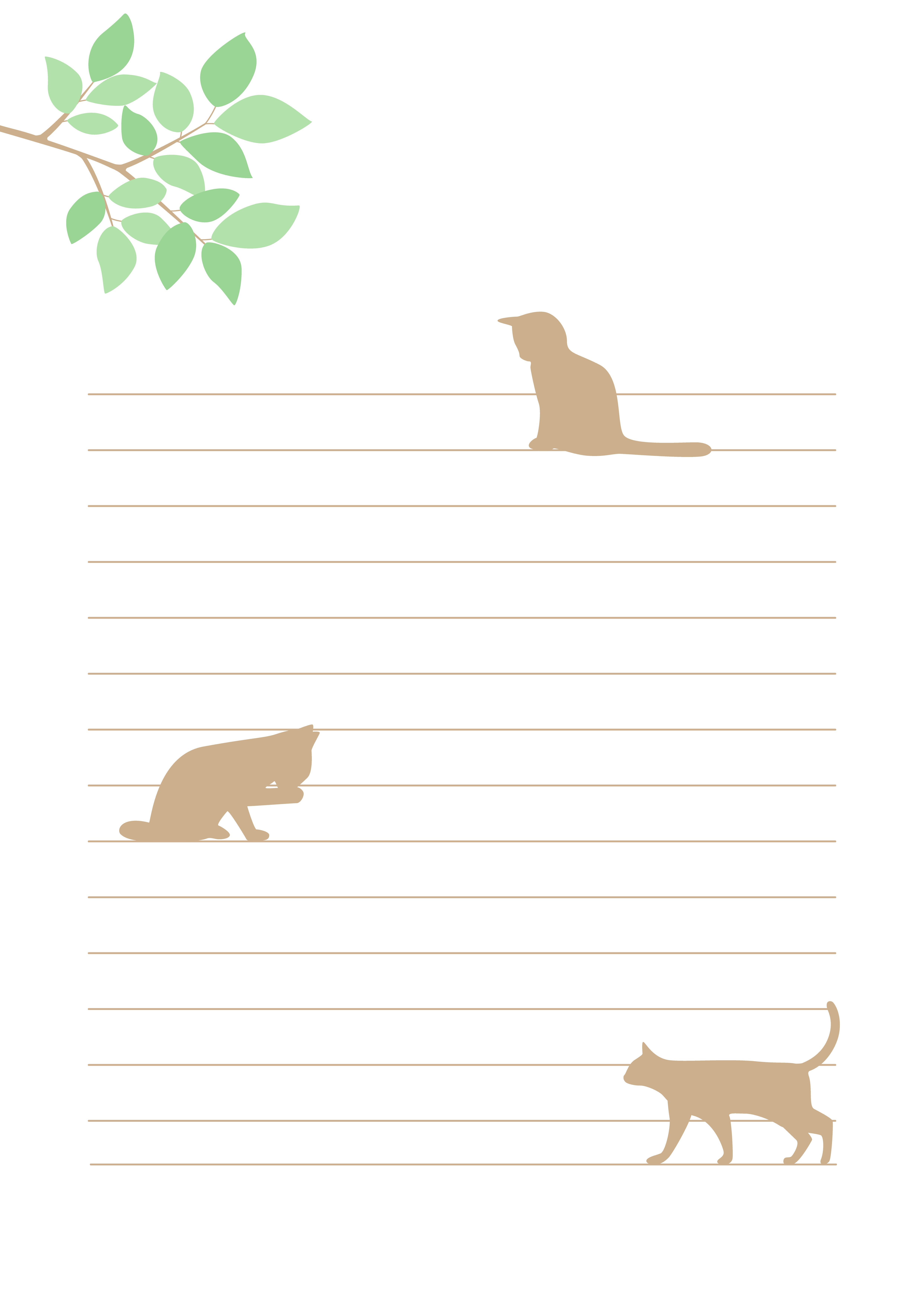 罫線入り便箋テンプレート(猫)