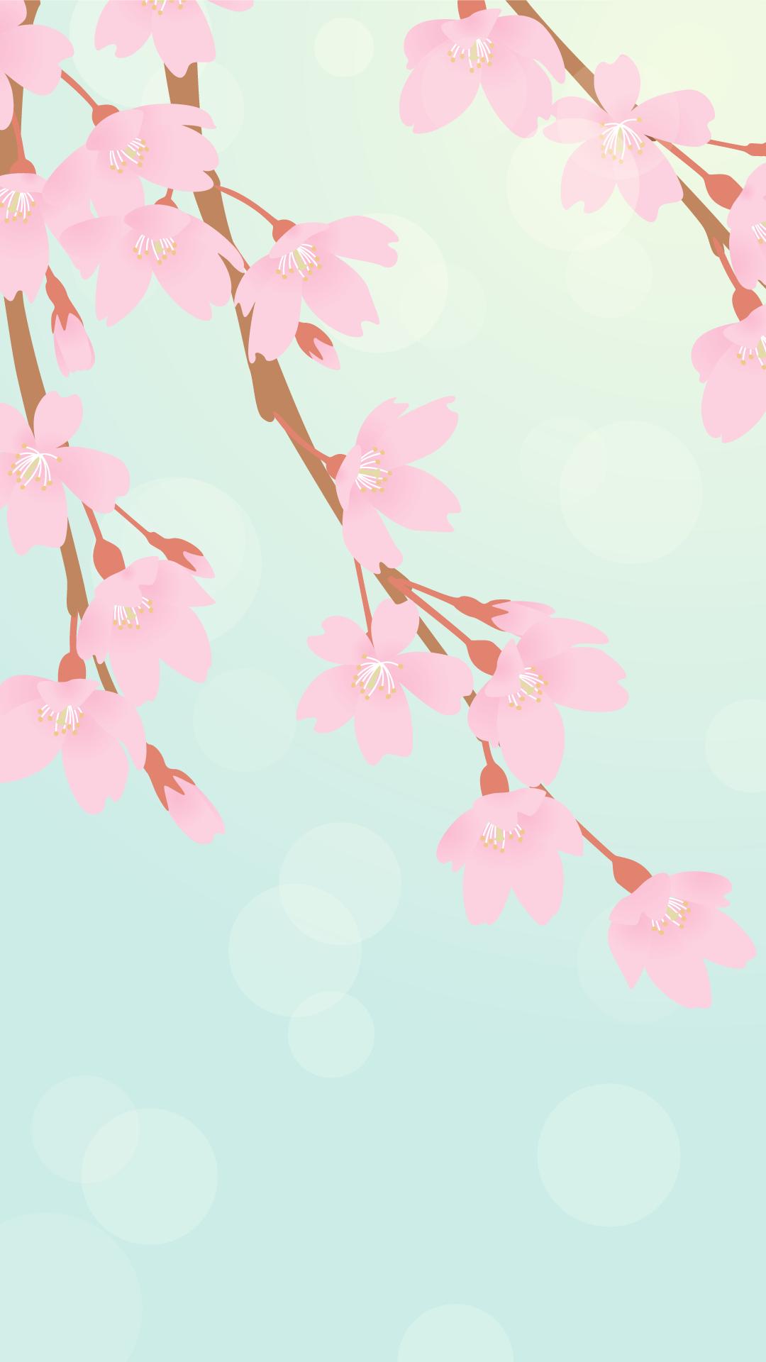スマートフォン用壁紙(シダレザクラ)
